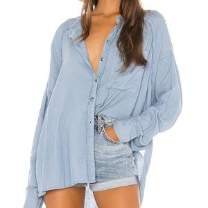 ⬇️Free People | Keep It Simple Linen Chambray top